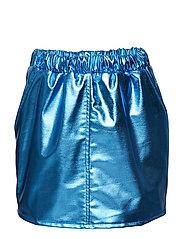 PEACH skirt - BLUE FAUX LEATHER
