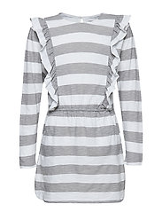 GIGI dress - WHITE/GREY STRIPE