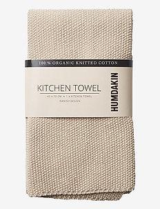 Knitted kitchen towel - kökshanddukar - light stone