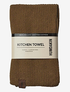 Knitted kitchen towel - viskestykker - sunset