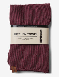 Knitted kitchen towel - viskestykker - violet plum