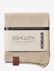 Knitted dish cloth - karklude & opvaskebørster - light stone
