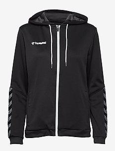 hmlAUTHENTIC POLY ZIP HOODIE WOMAN - hoodies - black/white