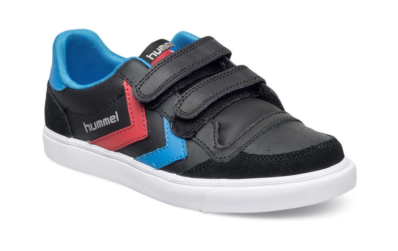 Hummel HUMMEL STADIL JR LEATHER LOW - BLACK/BLUE/RED/GUM