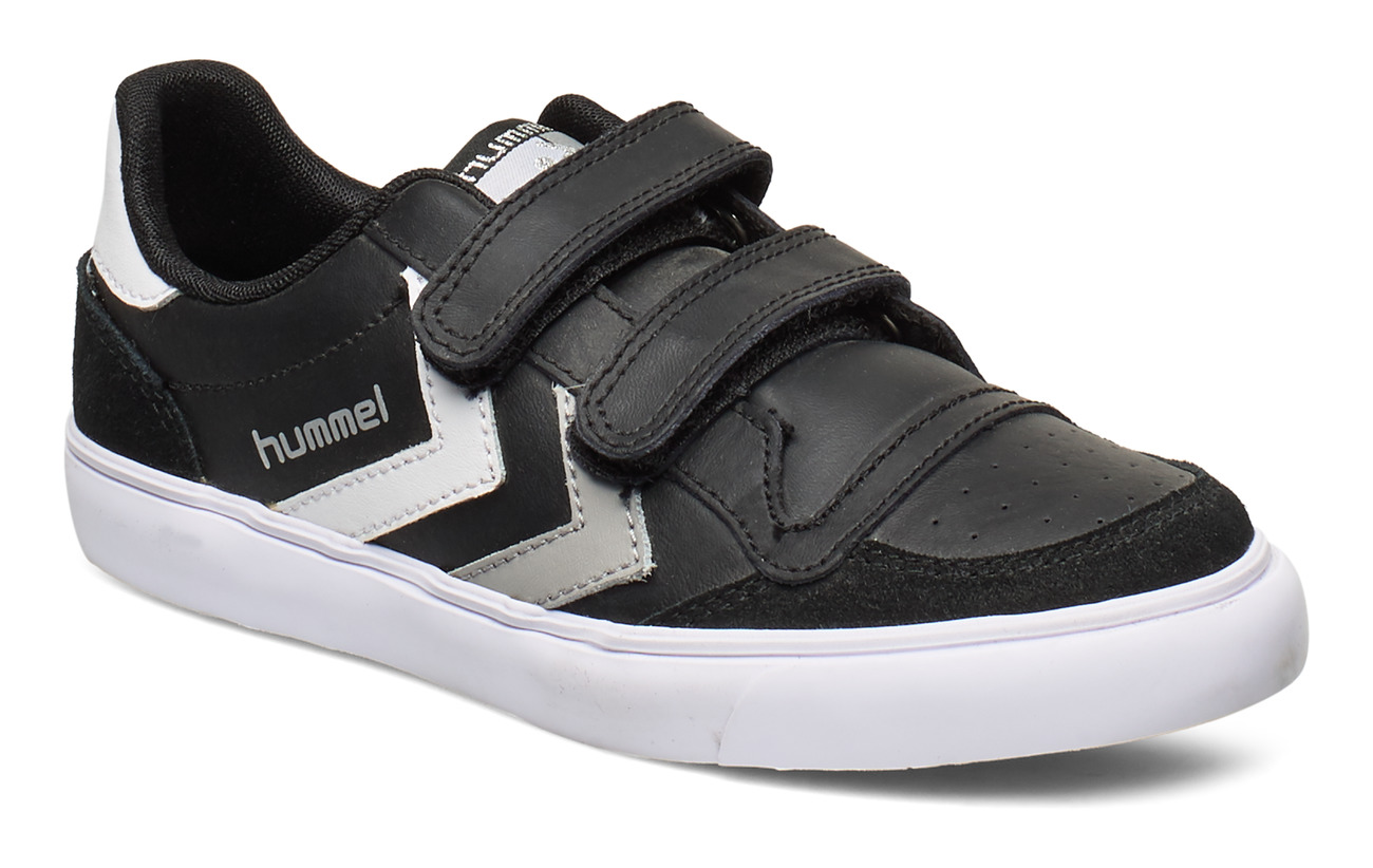 Hummel HUMMEL STADIL JR LEATHER LOW - BLACK/WHITE/GREY
