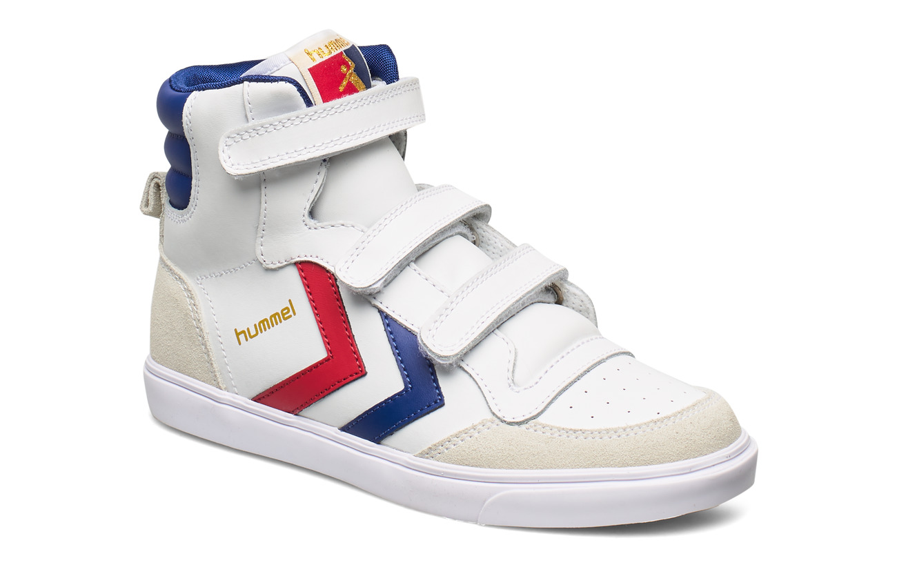 Hummel HUMMEL STADIL JR LEATHER HIGH - WHITE/BLUE/RED/GUM