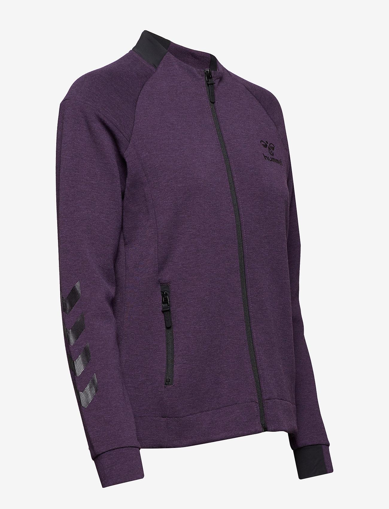 Hummel HMLCLIO ZIP JACKET - Sweatshirts BLACKBERRY CORDIAL MELANGE - Dameklær Spesialtilbud