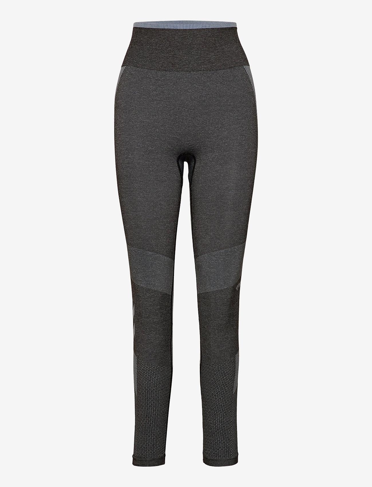 Hummel hmlSKY HIGH WAIST SEAMLESS TIGHTS - Leginsy BLACK/FADED DENIM - Kobiety Odzież.