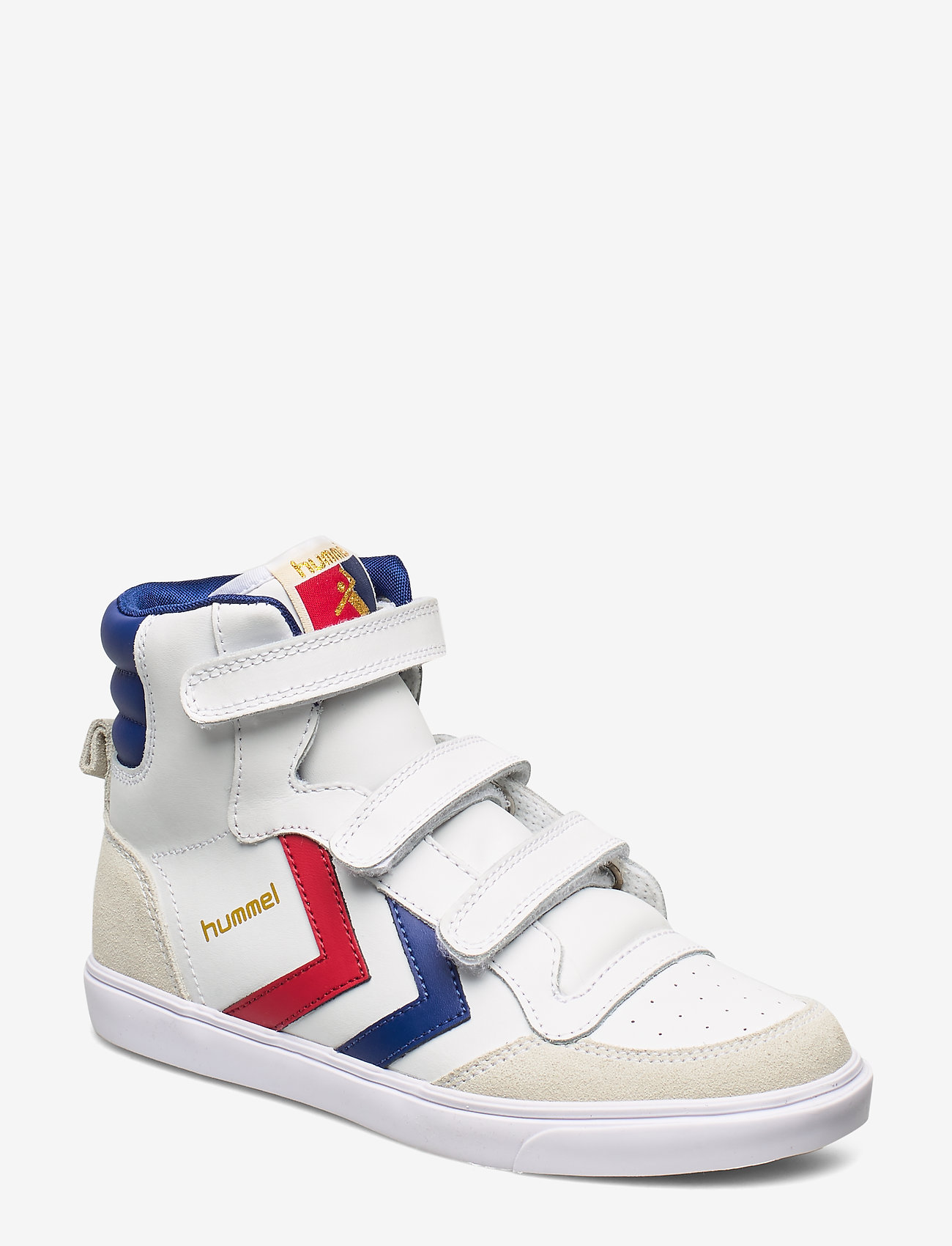 Hummel - HUMMEL STADIL JR LEATHER HIGH - tenisówki - white/blue/red/gum