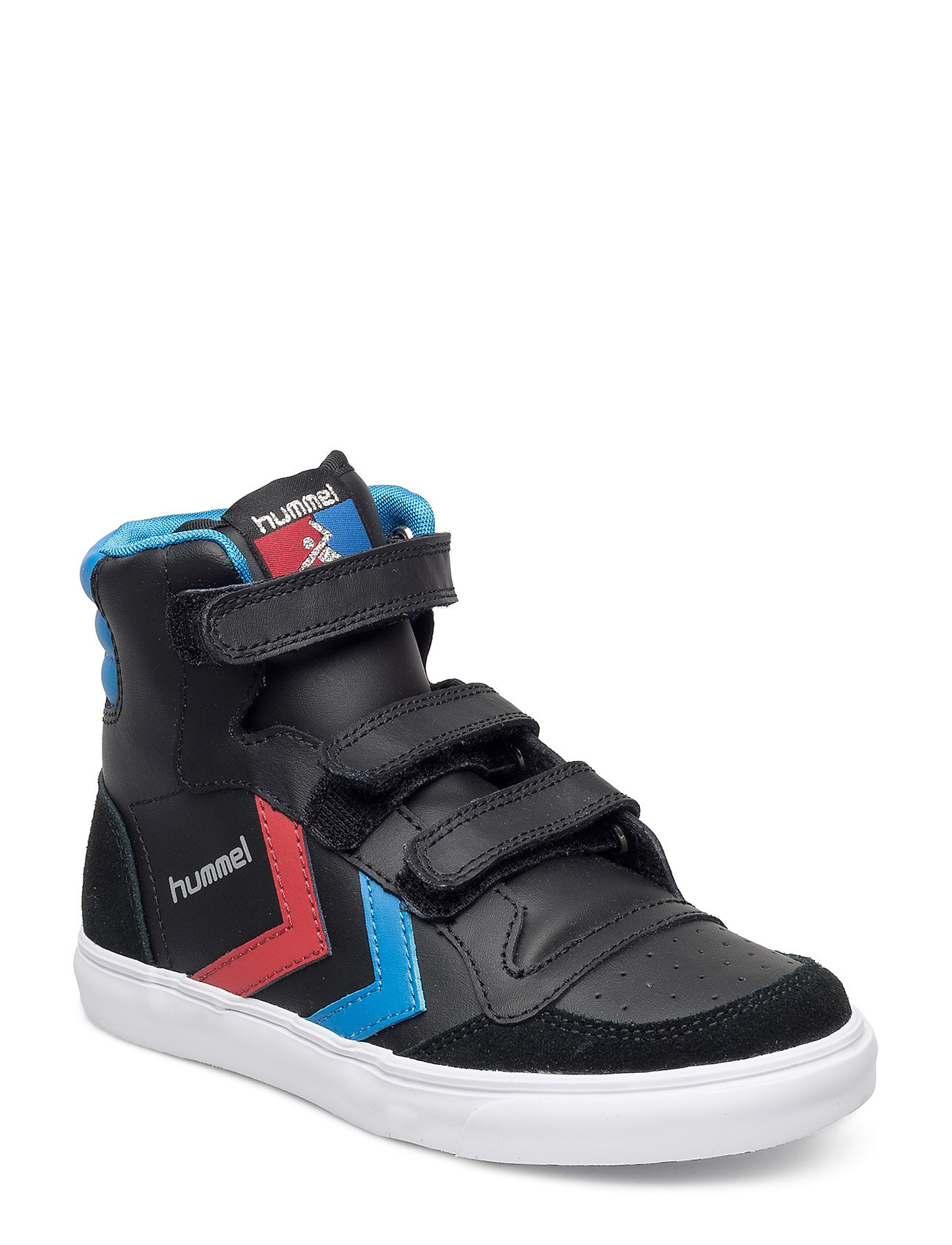 Hummel HUMMEL STADIL JR LEATHER HIGH - BLACK/BLUE/RED/GUM