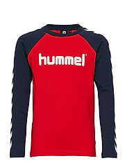 HMLBOYS T-SHIRT L/S - FLAME SCARLET