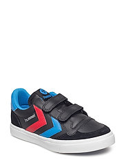 HUMMEL STADIL JR LEATHER LOW - BLACK/BRILLIANT BLUE