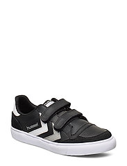 HUMMEL STADIL JR LEATHER LOW - BLACK/WHITE/GREY