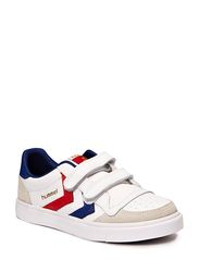HUMMEL STADIL JR LEATHER LOW - WHITE/BLUE/RED/GUM