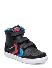 HUMMEL STADIL JR LEATHER HIGH - BLACK/BLUE/RED/GUM