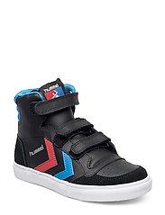 HUMMEL STADIL JR LEATHER HIGH - BLACK/BLUE/RED/GUM