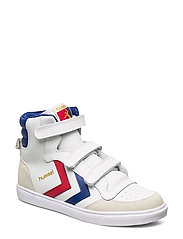 HUMMEL STADIL JR LEATHER HIGH - WHITE/BLUE/RED/GUM
