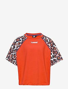 hmlKATRINE T-SHIRT S/S - short-sleeved t-shirts - tangerine tango