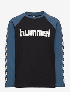 hmlBOYS T-SHIRT L/S - BLACK/STELLAR
