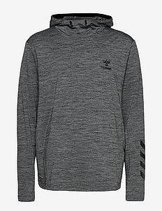 hmlASTON HOODIE - bluzy z kapturem - dark grey melange