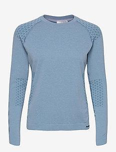hmlCI SEAMLESS T-SHIRT L/S - långärmade tröjor - faded denim melange