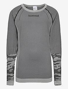 hmlMAX SEAMLESS T-SHIRT L/S - long-sleeved t-shirts - medium melange
