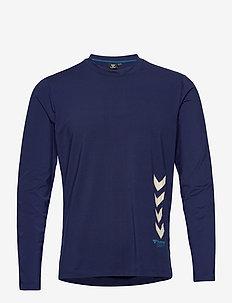 hmlMARLEY T-SHIRT L/S - langermede topper - medieval blue