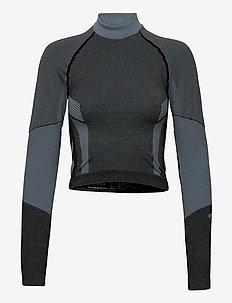 hmlSKY SEAMLESS CROPPED T-SHIRT L/S - bluzki z długim rękawem - black/faded denim