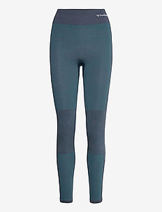 hmlCLEA SEAMLESS MID WAIST TIGHTS - juoksu- & treenitrikoot - blue nights melange