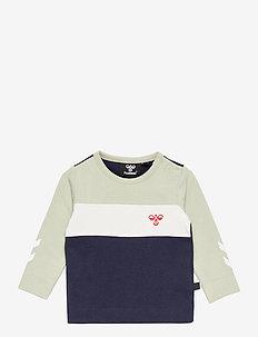 hmlLAURITS T-SHIRT L/S - langærmede t-shirts - desert sage