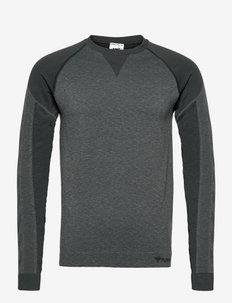 hmlKENT SEAMLESS T-SHIRT L/S - långärmade tröjor - black melange