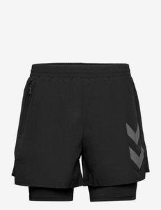 hmlCOLTON 2 IN 1 SHORTS - träningsshorts - black