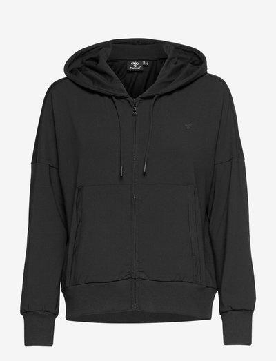 hmlLUISE LOOSE ZIP HOODIE - bluzy z kapturem - black