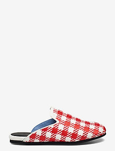 Hums checked Canvas Slipper - mules & slipins - red