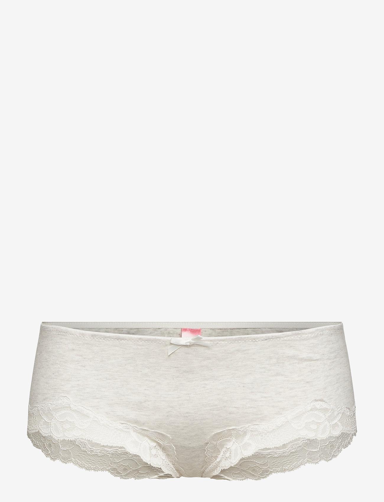 Hunkemöller - Secret Lace Cotton boxer r - slips - grey melee - 0