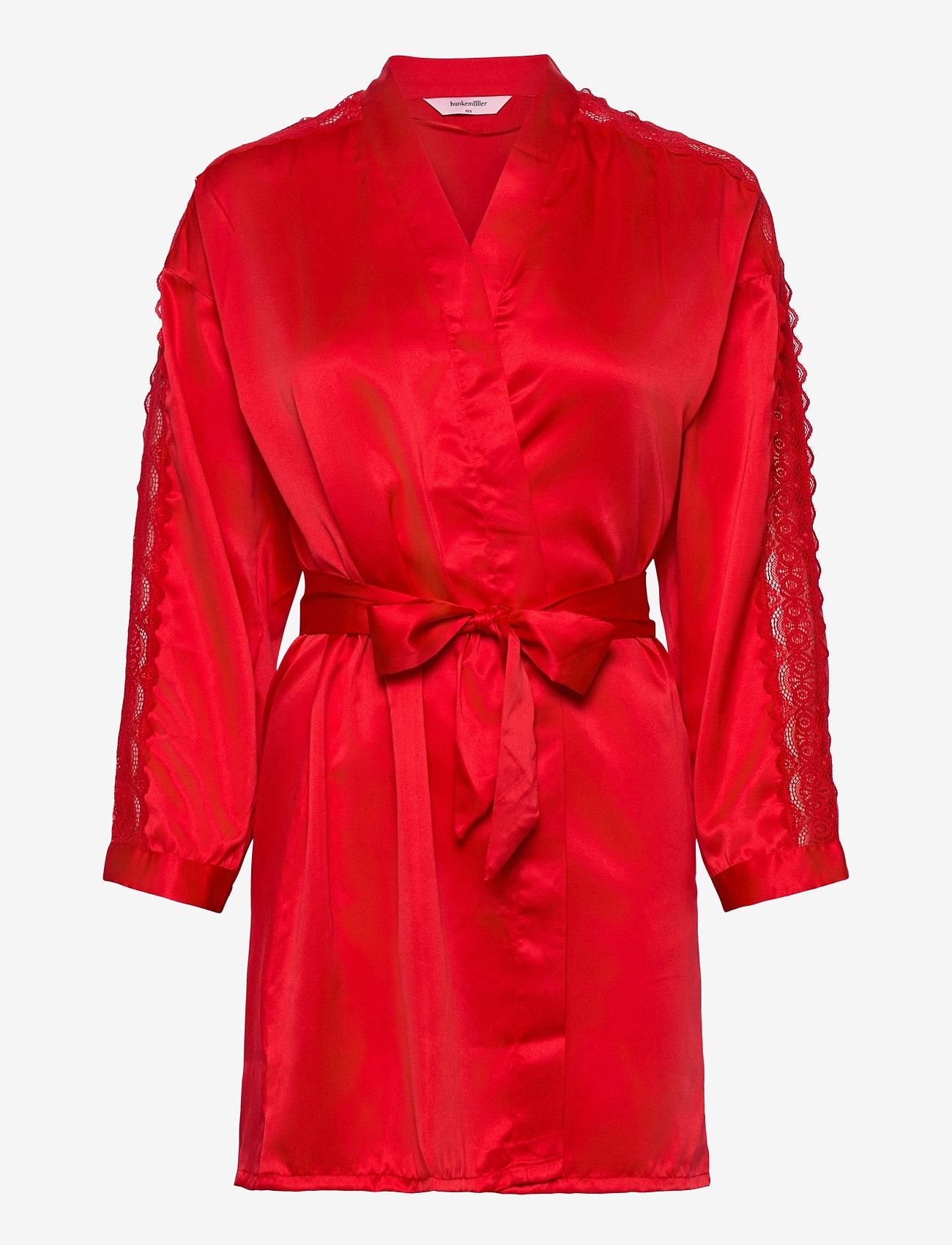 Hunkemöller - Kimono Satin Lace Slv Insert - morgenkåper - tango red - 0