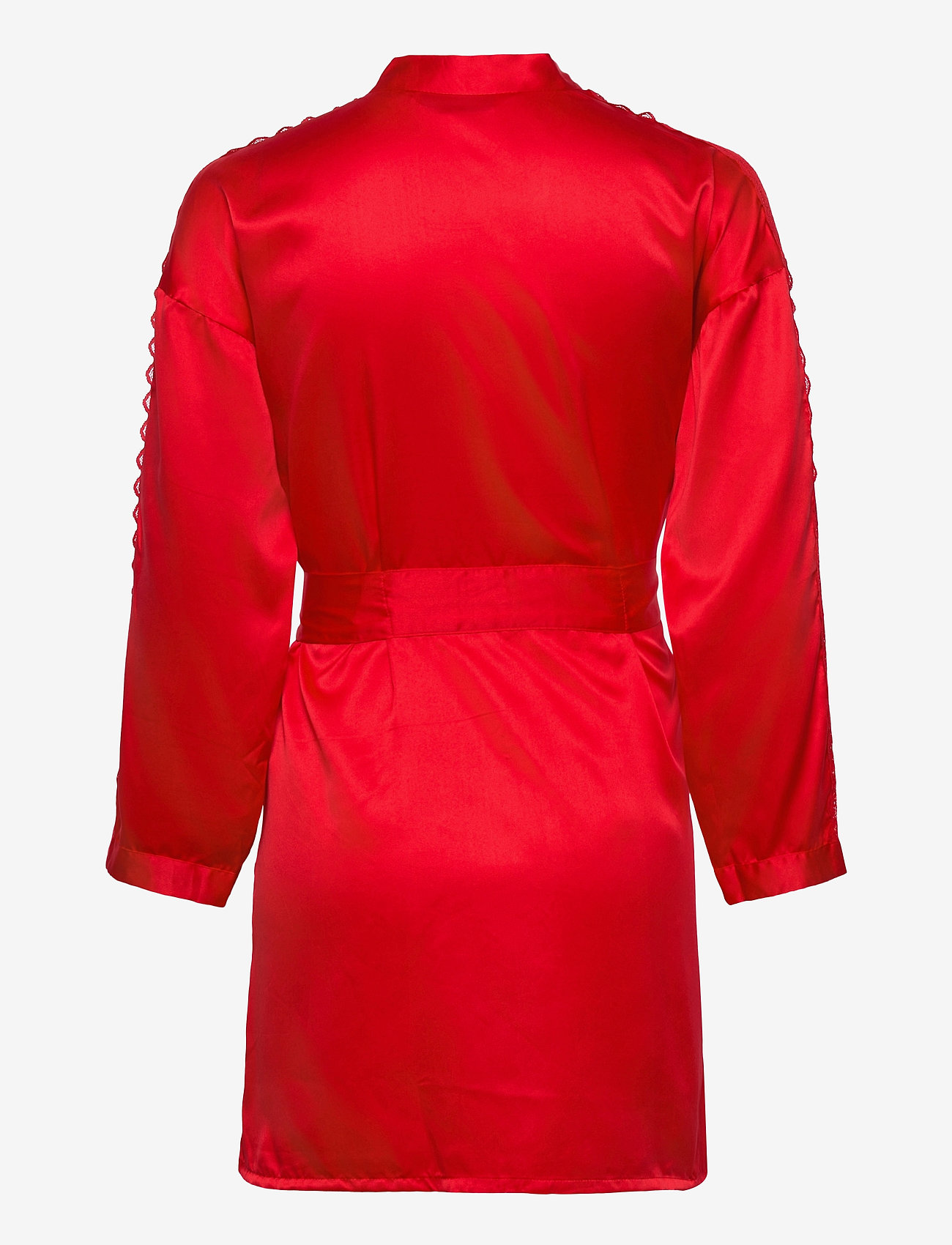 Hunkemöller - Kimono Satin Lace Slv Insert - morgenkåper - tango red - 1