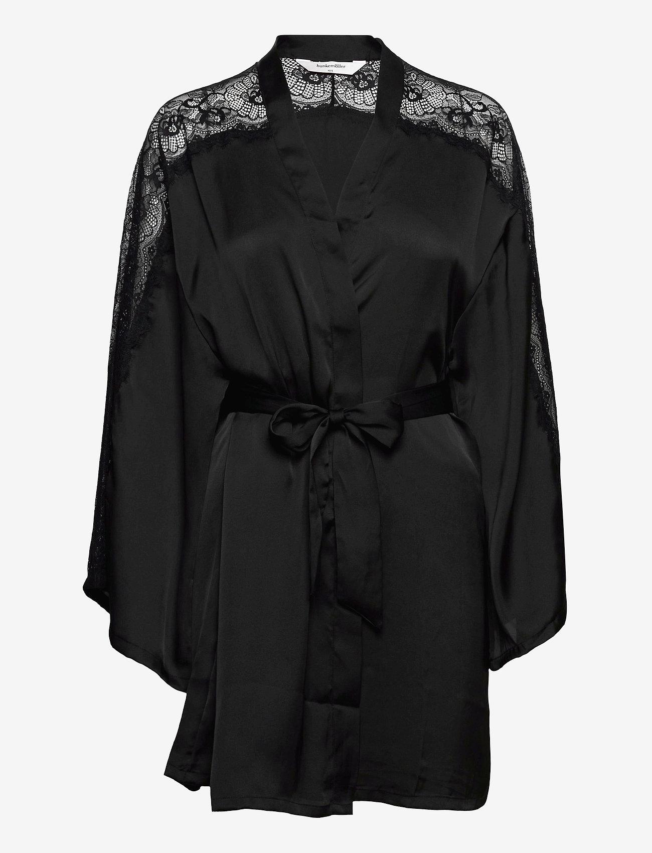 Hunkemöller - Kimono Satin Lace Sleeve Insert - pegnoirs - black - 0