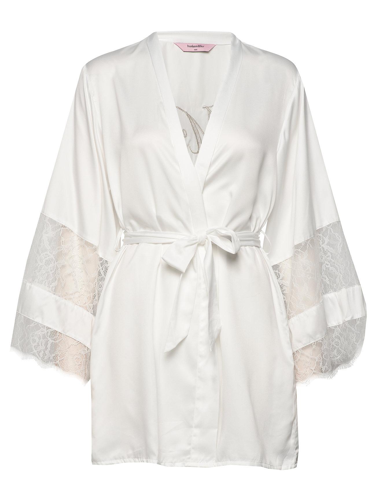 Kimono Satin Insert Lace Mrs Morgenkåbe Hvid Hunkemöller