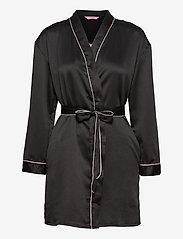 Hunkemöller - Kimono Hammered Satin Bow - pegnoirs - black - 0