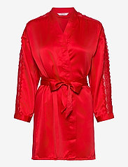 Hunkemöller - Kimono Satin Lace Slv Insert - badjassen - tango red - 0