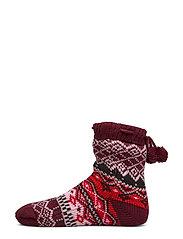 Cosy Sock Fairisle Pom Pom - WINDSOR WINE