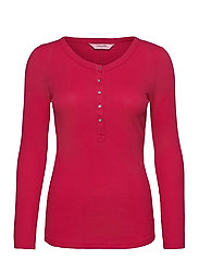 Top LS Waffle Placket - BARBERRY