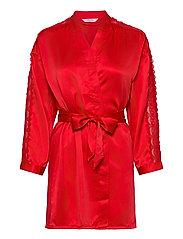 Kimono Satin Lace Slv Insert - TANGO RED