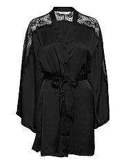 Kimono Satin Lace Sleeve Insert - BLACK