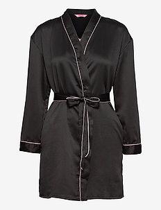 Kimono Hammered Satin Bow - pegnoirs - black