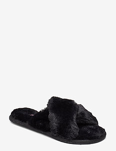 Cross Strap Fur Lady Slipper - BLACK