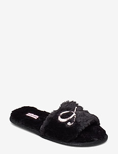 Bow Fake Fur Top Slipper - BLACK