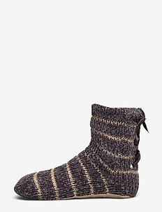 Lace Up Chenille Lurex Sock Boot - GREY