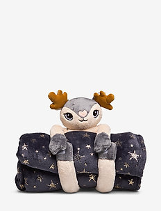 Stuffed Deer Star Blanket - GREY